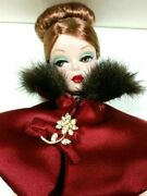 Barbie 2001 Mattel Fashion Doll Red Dress With White Box Black Lace And Faux Fur