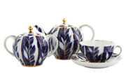 Russian Tea Cup Set Service Winter, Tulip 6/14   Hand Painted, Hard China