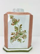 Vintage Ethan Allen Ceramic Floral Coral And Green Vase Made In Italy