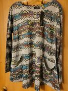 Inoah Womens Top Sweater Gray Size S Lagenlook Long Sleeve With Pockets