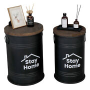 2 Pcs Hodely Antique Storage Stool Farm Desk With Round Wooden Cover Black