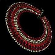 Danny Pollak One Of A Kind Crystal And Red Egyptian Collar Reduced