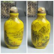 Old Beijing Chinese Colored Glaze Painted Glass Snuff Bottle Bottles Yellow Rate