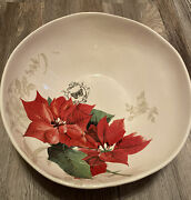 """Tuscane Ceramiche Hand Painted Serving Bowl Italy 2013 Pointsettia 12"""""""