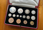 1937 Great Britain George Vi 15 Silver Coins Proof Set With Original Case