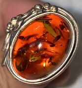 Vintage Art Nouveau 1940andrsquos Honey Amber 925 Sterling Silver Ring Jewelry