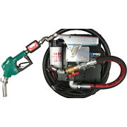 12v Deluxe Transfer Pump Kit W/ Filter And Meter Auto Nozzle 18ft X 1in. Hose