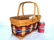 Longaberger Welcome Home Take Along Basket And Protector Picnic New Rare Patriotic