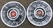Pair Oem 1957 Vintage Original Cadillac Hubcaps And Medallions Set Of 2 57 Caddy