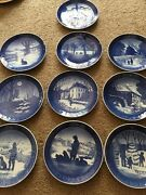 """Lot Of 10 Royal Copenhagen Blue Christmas 7"""" Plates All Of The 1970's"""
