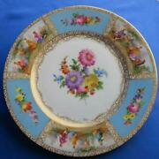 Dresden Richard Wehsener Hand Painted Plate Antique Blue White Gold Germany