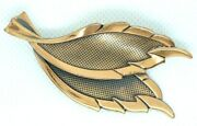 Vintage 1980s Brooch Lapel Pin Double Leaf Solid Textured And Shiny Copper Metal