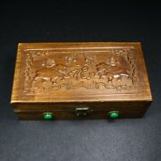 Chinese Antique Vintage Rosewood Carved Elephant Jewelry Box Wooden Storage Box