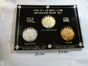3 Coin Set 1996 Us Olympic Very Rare 999 Silver Gold Bronze Coins 500 Made