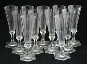 11x An Antique, 19th C. Faceted Crystal Flute - Champagne Glass