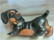 1986 Universal Statuary Black And Tan Dachshund / Doxie Dog Life Size Statue 205