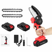 Mini Electric Chainsaw4 Inch Cordless Protable Chainsaw Rechargeable Battery Us