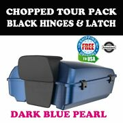 Dark Blue Pearl Chopped Tour Pack Black Hinges Latch Fit 97-21 Harley Electra