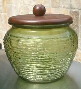 Vintage Green Glass Beehive Tobacco Humidor W/ Wood Lid Atmos Products Humydrole