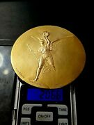 French Olympic Angel Gold Pl.silver Athletic Federation Art Big Medal By Lenoir
