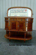 58757 Antique Inlaid Marble Top Sideboard Server Buffet W/ Mirror