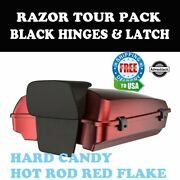 Hard Candy Hot Rod Red Flake Razor Tour Pack Black Hinges Latch Fit Touring