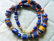 Antique Venetian Chevron Beads Necklace With Antique Moroccan Amber And Coral