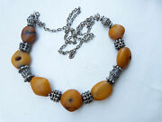 Antique Rare Moroccan Natural Amber Beads Necklace, Yemen Silver Beads