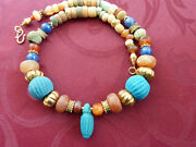 Ancient Egyptian Faience Beads Necklace With Ancient Carnelian, Lapis And Gold