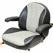 K And M Garden/lawn Tractor Seat With Folding Armrests - Black/silver Vinyl 8467