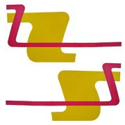 Rinker Boat Graphic Decal   Oem Hot Pink Yellow 30 1/2 X 16 Inch 2pc