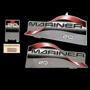 Mercury 37-824092a97 Mariner Gray/black/red Boat Engine Decals Set Of 4