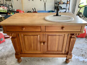Large Solid Wood Bathroom Vanity W/white Porcelain Sink And Oiled Bronze Faucet