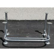 Custom Polished Aluminum 21 X 37 Inch Boat Leaning Post Frame W/ Foot Rest