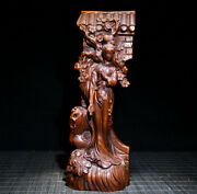 Antique Chinese Boxwood Wooden Hand Carved Classic Beautiful Woman Statue Decor