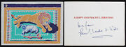 Paul Mccartney Beatles Love From Linda + Kids Authentic Signed Card Bas Aa03802
