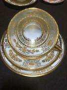 Antique Minton Trio Set Cup And Saucer And Plate Gold White England