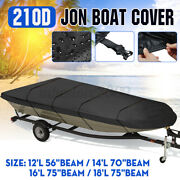 For 12and039 / 14and039 / 16and039 / 18and039l Jon Boat Cover 210d Black Waterproof Sun Protection