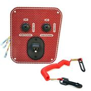 Wellcraft Boat Ignition Switch Panel 025-4119   Dual Engine 6 Inch Red