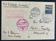 1937 Frankfurt Germany Hindenburg Zeppelin Lz 129 Airmail Pc Cover To Berlin