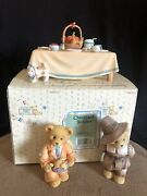 Cherished Teddies Thanksgiving Table, Rick And Jedediah, Lot Of 3 Figurines