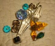Crafting Small Lot Of Vintage Glass Crystal Beads And Prisms Assorted Colors