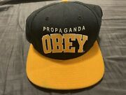 Obey Snapback Dark Blue And Yellow Flat Brimmed Adjustable One Size Fits All