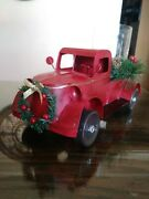 Farmhouse Red Truck Christmas Candle Holder