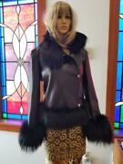 Gianni Versace Rare Leather Jacket With Fur Trim And Medusa Accents Size M