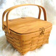 1991 Longaberger Picnic Basket + Protector Leather Hinged Wooden Lid And Closure