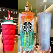 Starbucks China 3 Cups-16oz Red Pineapple,20oz Camp Bear And 24oz Silver Glitter