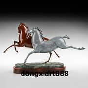 38 Cm Art Deco Sculpture Abstract Two Horse Bronze Wood Household Statue