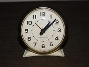 Vintage 3 1/4 High Westclox Made In Usa White Wind Up Alarm Clock