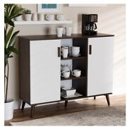 Baxton Modern Two-tone White And Walnut Finished 2-door Wood Dining Room Sideboard